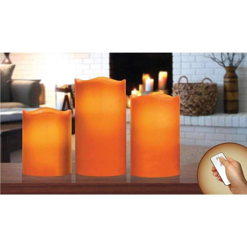 Candle Set 3pc Led Orange With Remote Control - Magasins Hart | Hart Stores