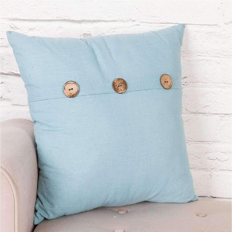"Lauren Taylor - Lino Cushion with Wood Buttons 20x20"", Off White"