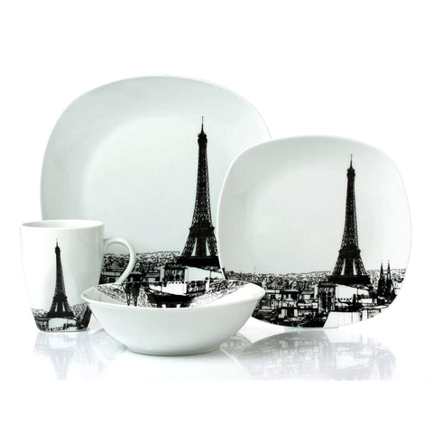 SANDRA VENDITTI - Paris 16 Piece Porcelain Dinnerware Set