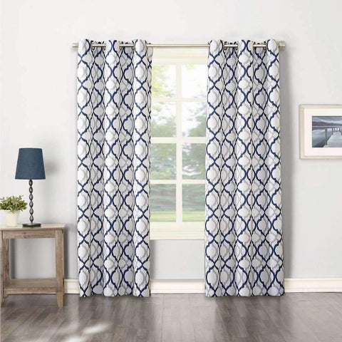 Lauren Taylor - 2 Pack Printed Canvas Grommet Panels, Blue