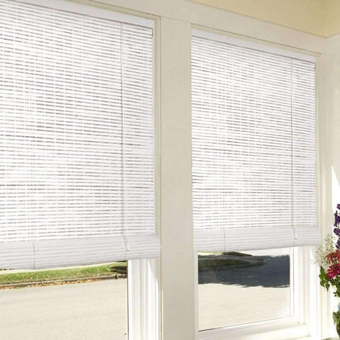 Bamboo Look Roll-Up Blinds - White