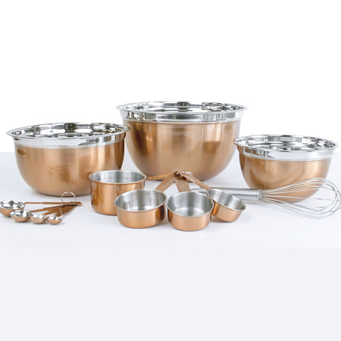 12 Piece Mixing and Measuring Set - Copper Finish
