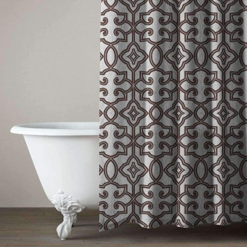 Lauren Taylor - Belva Jacquard Shower Curtain with Eyelets