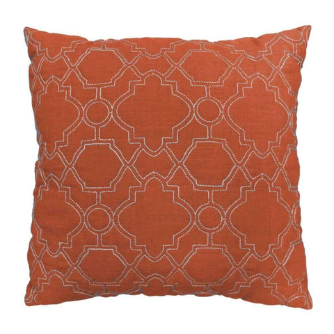 Lauren Taylor - Layla Geometric Quilted Linen Cushion, Orange