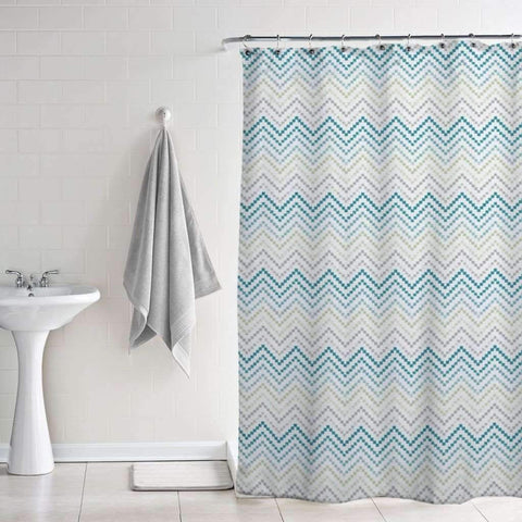 Lauren Taylor - Bloom Peva Printed Shower Curtains w/ Magnets, Chevron