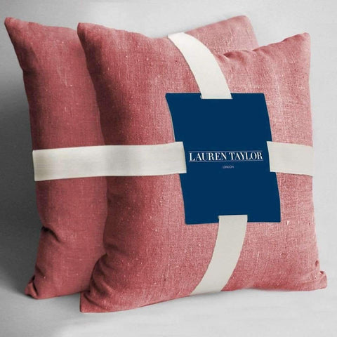 Lauren Taylor - 2 Faux Linen Square Decorative Cushions, Coral