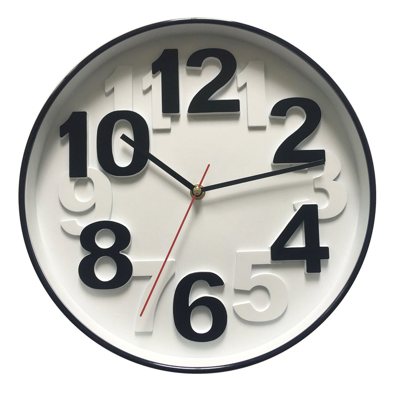 Wall Clock - Black & White Numbers - 12'' - Magasins Hart | Hart Stores