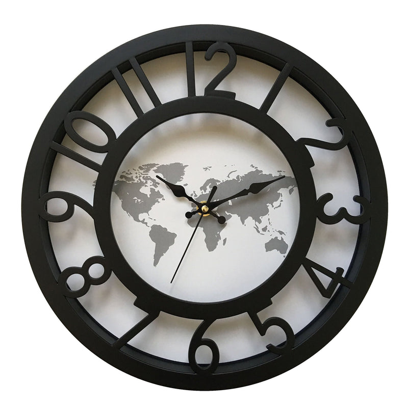 Wall Clock - Black & White - World Map - 12'' - Magasins Hart | Hart Stores