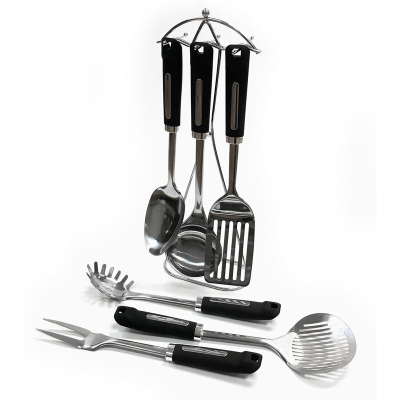 7 Piece Stainless Steel Kitchen Utensils with Stand - Magasins Hart | Hart Stores