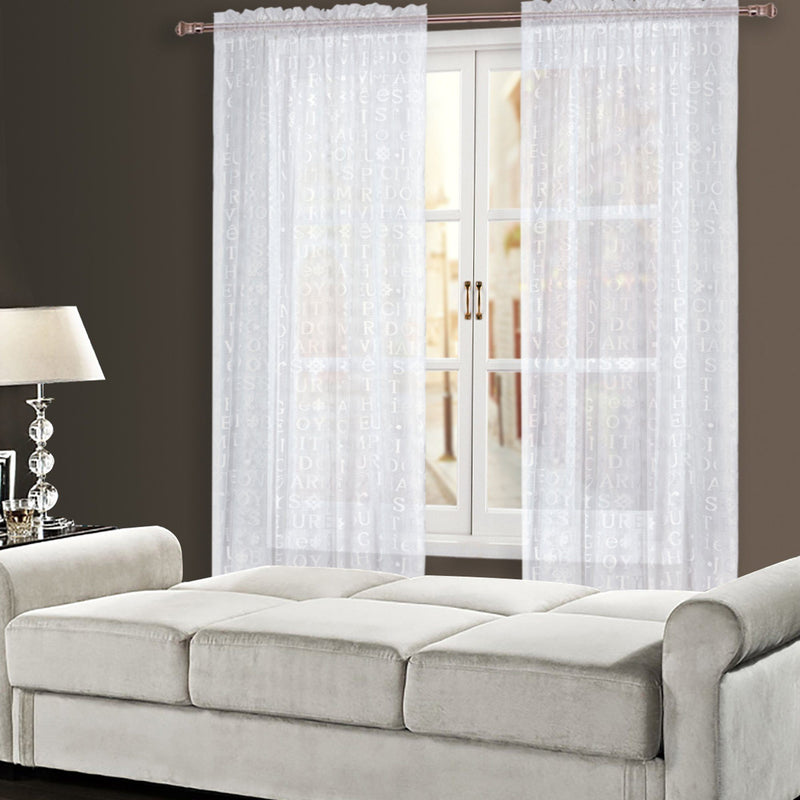"Script White Embroidered Sheer Panel | 54""x84"" - Magasins Hart 