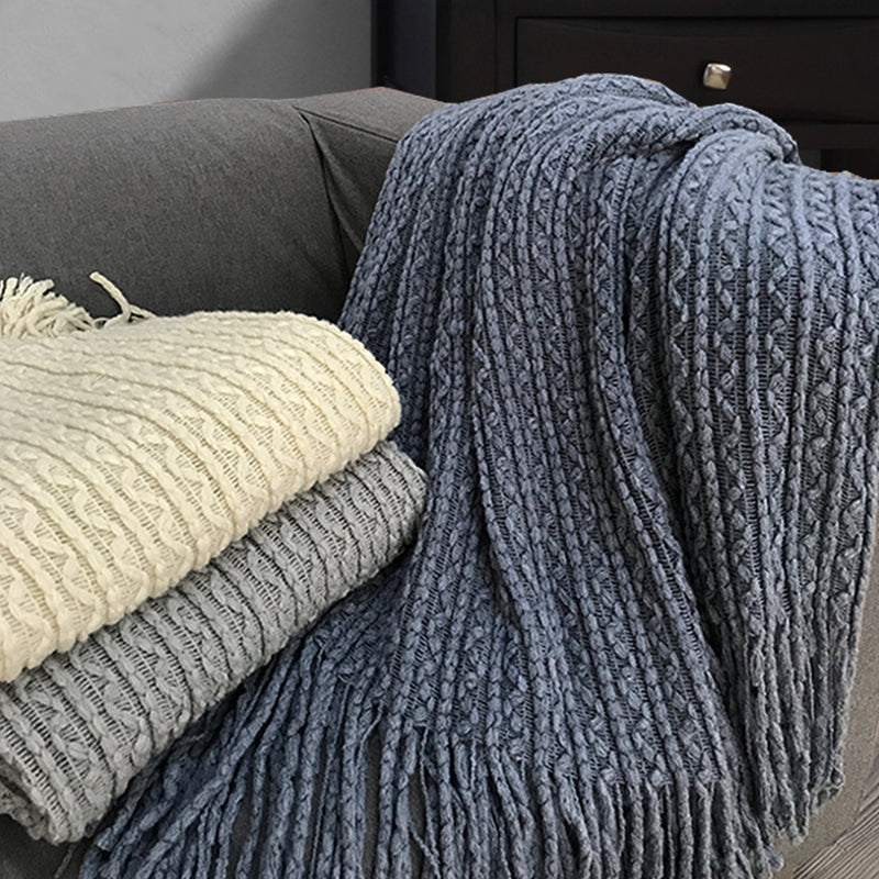 Simon Lightweight Cable Knit Throw with self fringe - Magasins Hart | Hart Stores