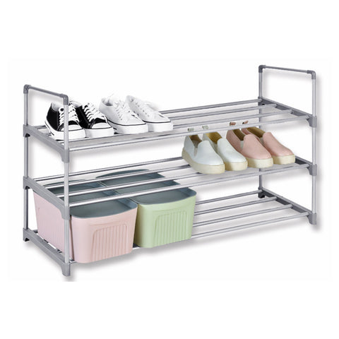 Studio 707 - 3 Tier Shoe Rack with Fabric Shelves
