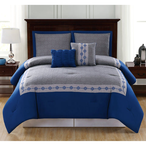 Lauren Taylor - Jared 5 Piece Embroidered Comforter Set