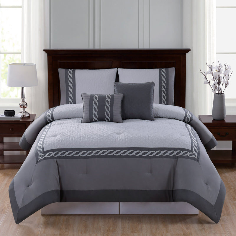 Lauren Taylor | Thatcher - 5 Piece Embroidered Comforter Set - Magasins Hart | Hart Stores