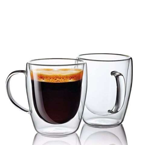 A Set of 2 Double Wall Glass Mugs