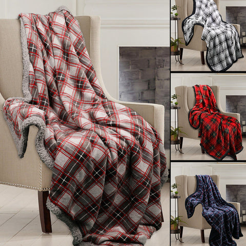 LAUREN TAYLOR - GRIFFIN - Plaid and Sherpa Throw