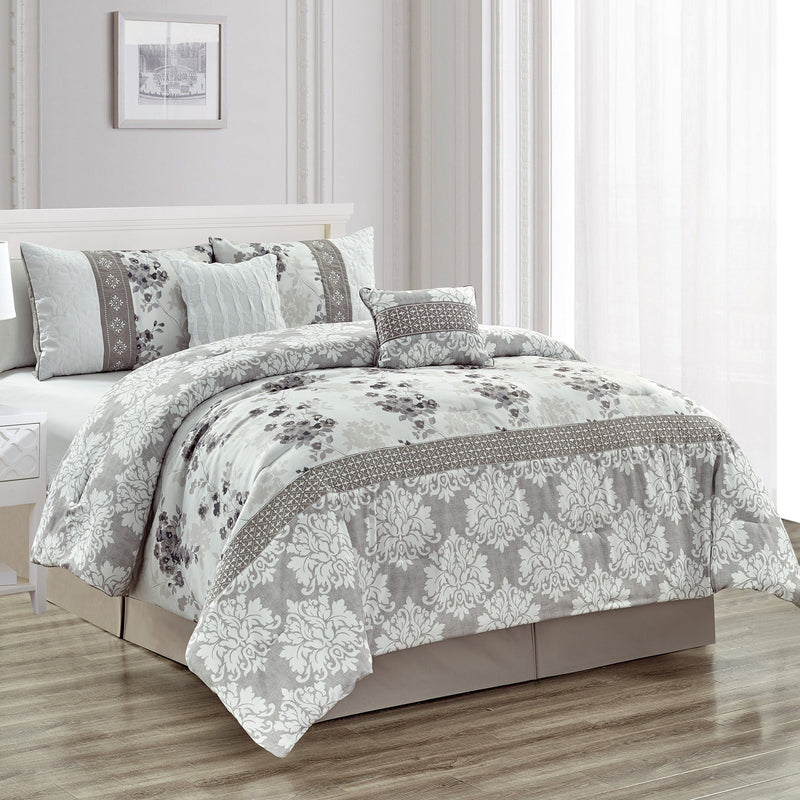 Charlotte 5 Piece Comforter Set with Embroidery and Pleating - Magasins Hart | Hart Stores