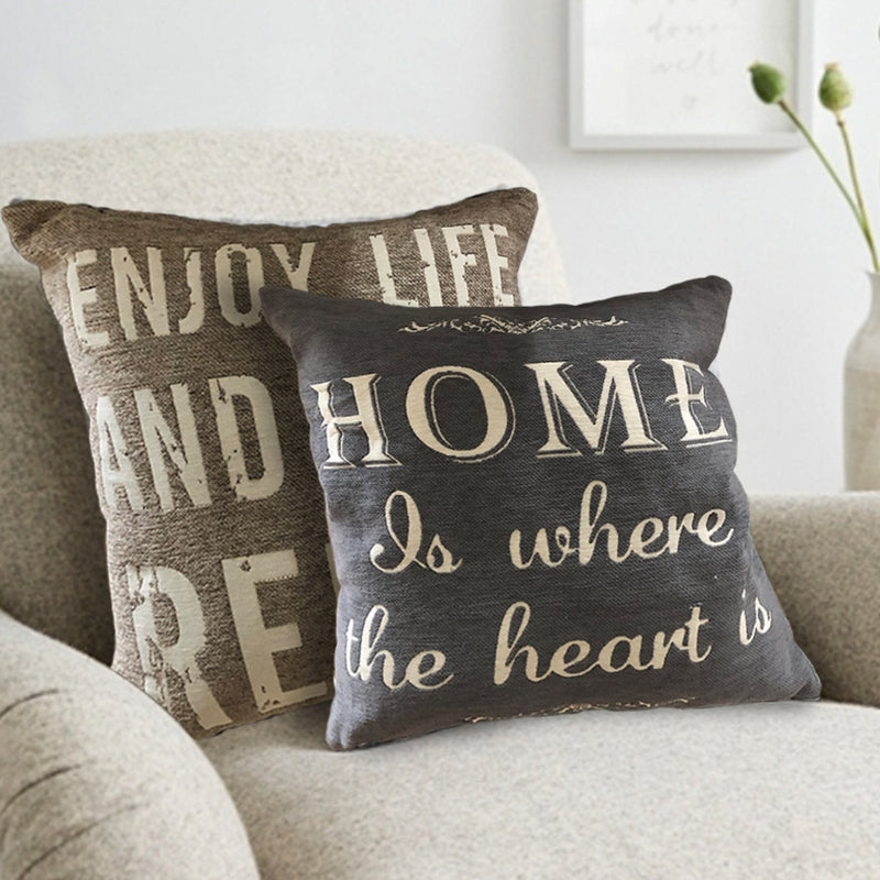 Graphic Text Chenille Jacquard Cushion - Magasins Hart | Hart Stores