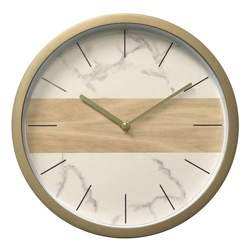 Wall Clock - White Marble & Natural Wood Look - 12'' - Magasins Hart | Hart Stores