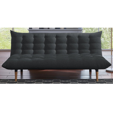 Large Dark Grey Sofa Bed with Tufted Back