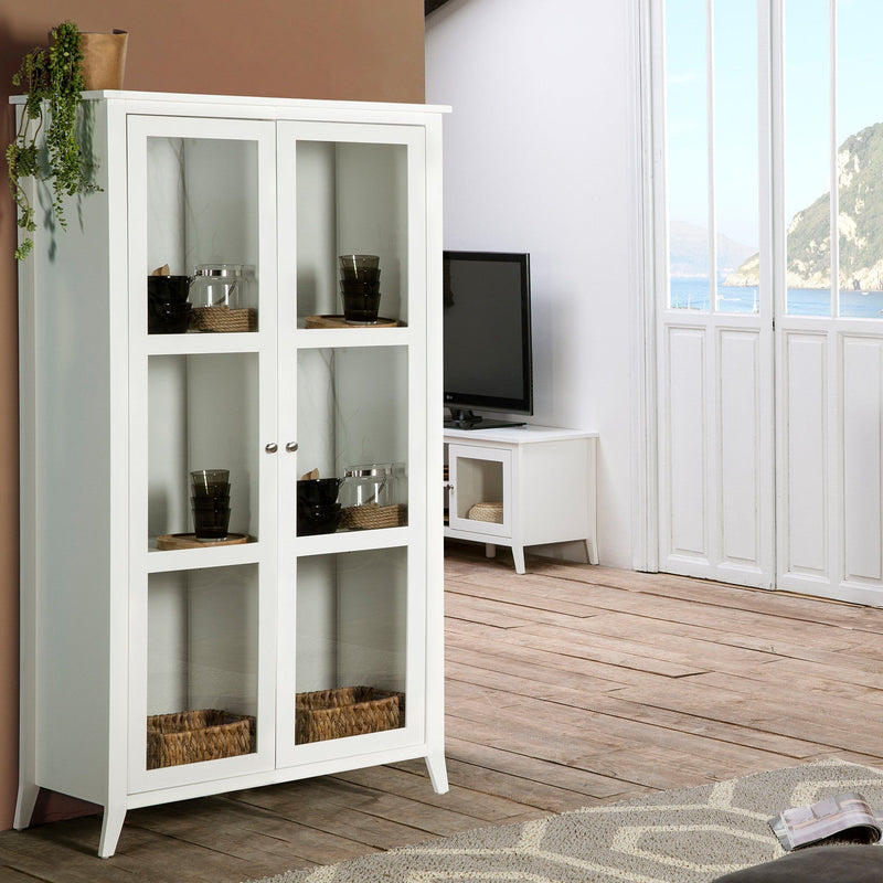 Isabel - 2 Glass Door Tall Cabinet - White - Magasins Hart | Hart Stores