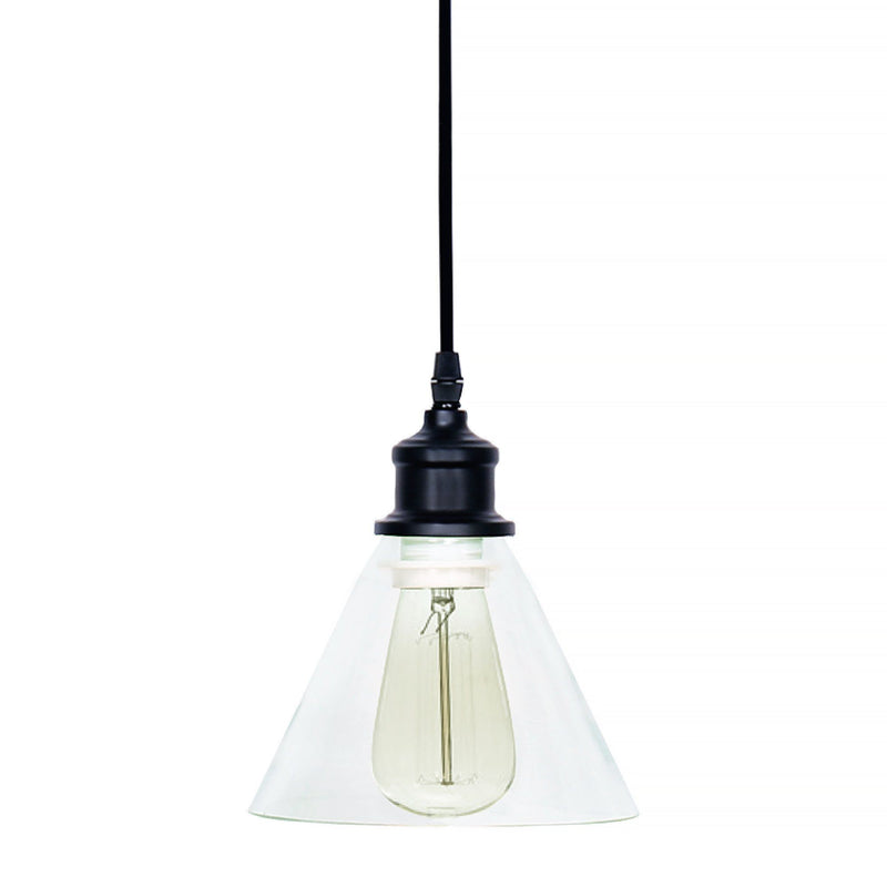 Flared Glass and Black Metal Pendant Light - Magasins Hart | Hart Stores