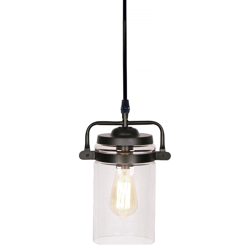 Glass and Black Metal Pendant Light - Magasins Hart | Hart Stores