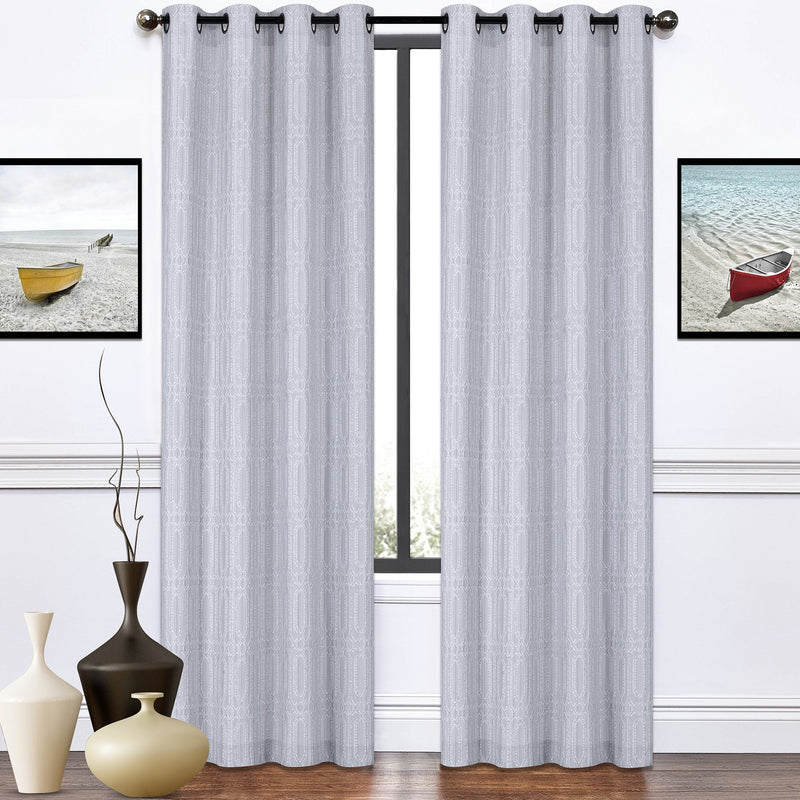 Emilio - Grey Jacquard Grommet Top Panels | 52x84"