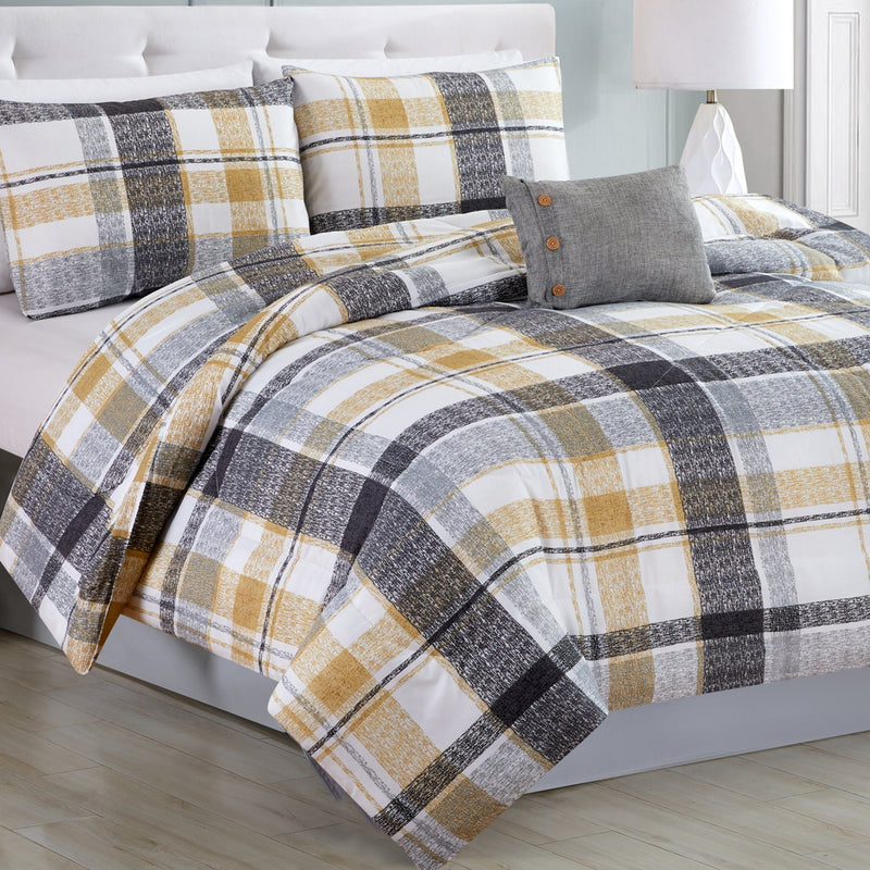 Esterel - 4 Piece Grey Plaid with Yellow Accents Comforter Set - Magasins Hart | Hart Stores