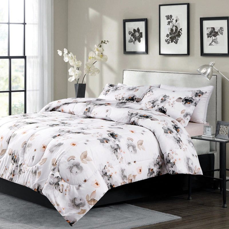 Rosalie - 3 Piece Soft Grey Watercolour Floral Comforter Set - Magasins Hart | Hart Stores
