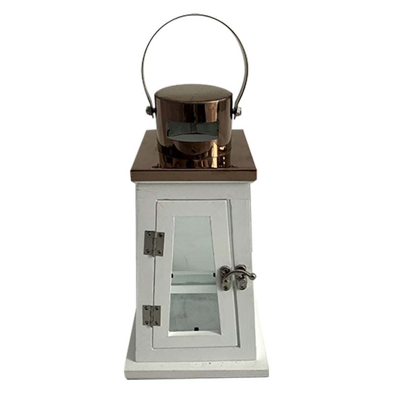 Wood Lantern with Copper Stainless Top - Magasins Hart | Hart Stores
