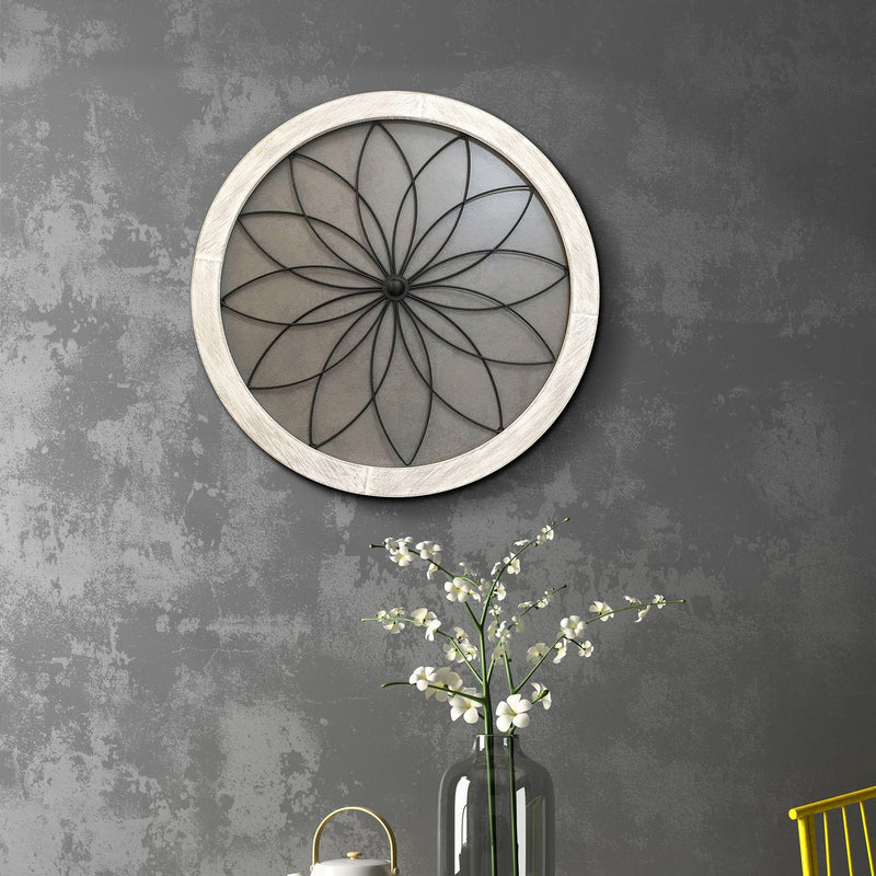 Wall Art - Round Wood and Metal Floral Hanging - Magasins Hart | Hart Stores