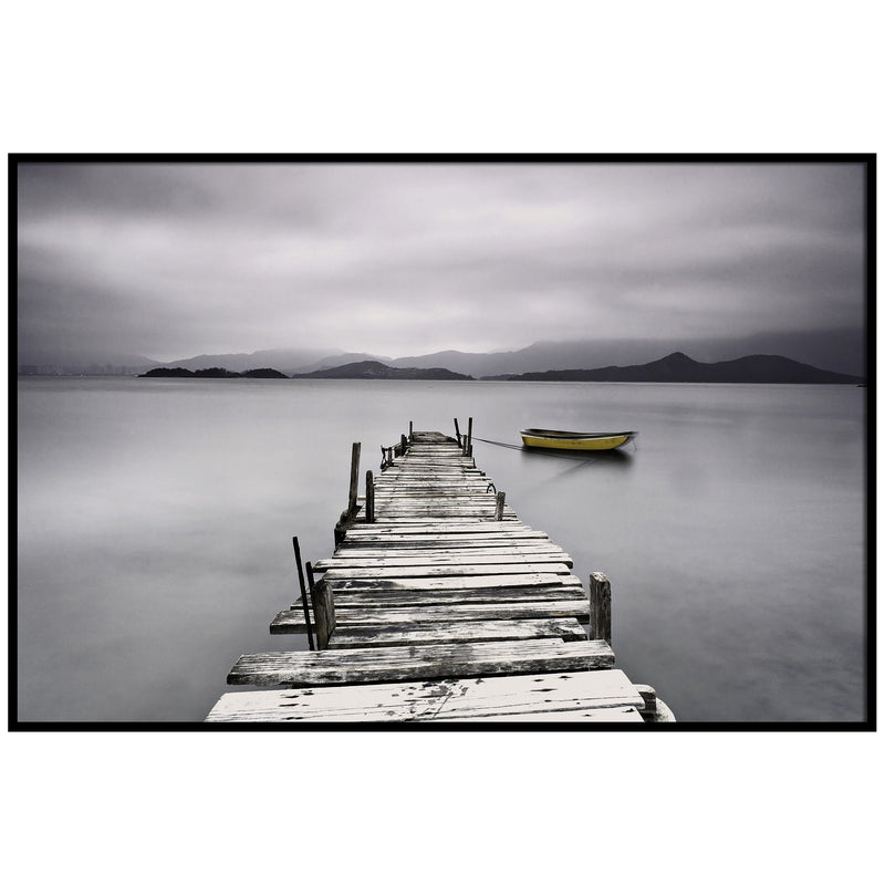 Framed Canvas - Dark Wooden Pier with Boat - Magasins Hart | Hart Stores