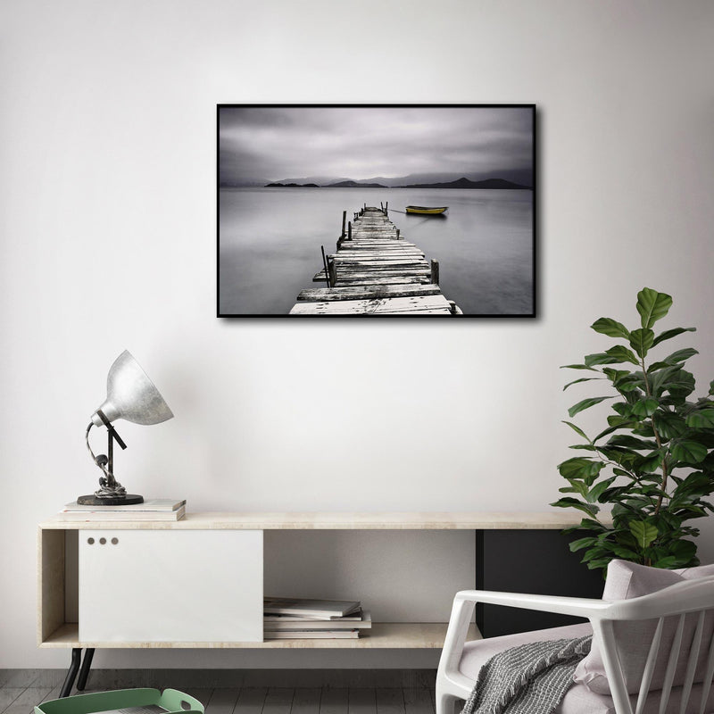Framed Canvas - Dark Wooden Pier with Boat