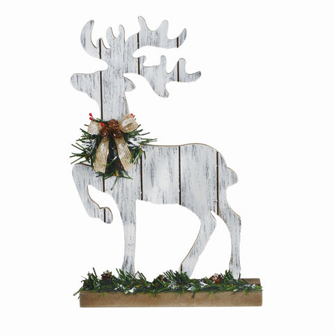 "12""Wooden Prancing Deer On Base"