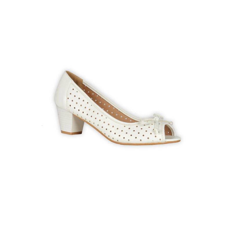 Perforated Peep Toe Pumps - White - Magasins Hart | Hart Stores