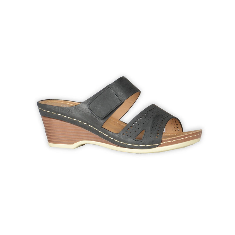Comfy Wedge Sandals With Velcro - Black - Magasins Hart | Hart Stores