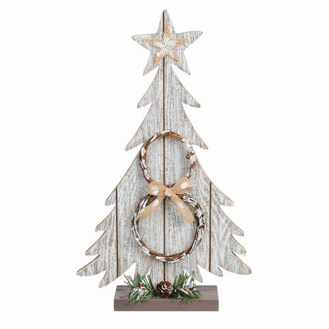Sapin En Bois Sur Base-Lavis Blanc-14,5"