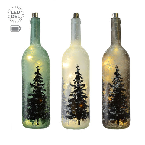 "3 Asst 10L 14"" Glass Bottle,Forest Decal"