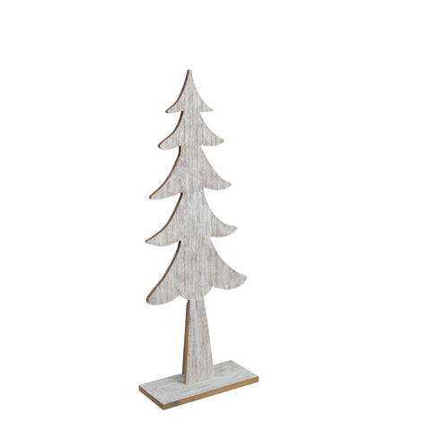 Sapin Bois Sur Base-Lavis Blanc 23.75"