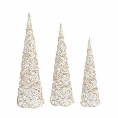 "Set/3 16-19.5-24"" Burlap/Paper Cone Tree"