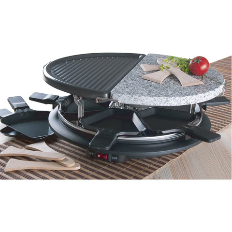 Round Electric Raclette with Grill and Stone Surface