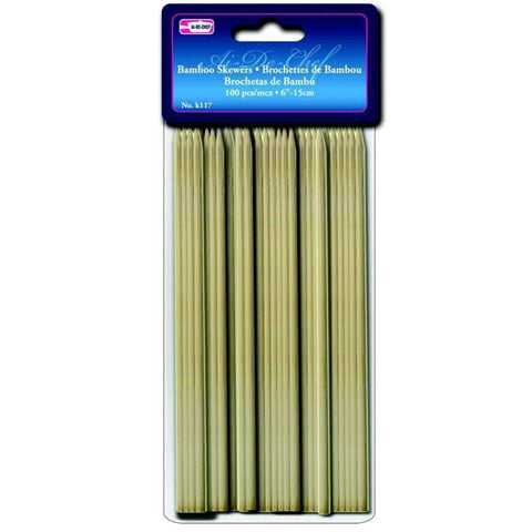100 Brochettes de Bambou 6po | Bamboo Skewers 100 6in
