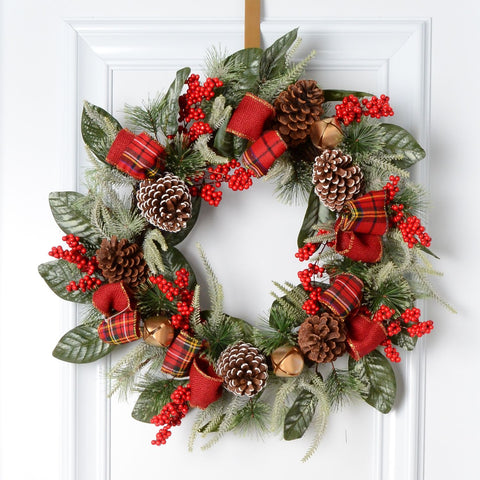 "24"" Decorated Mixed Pine/Berry Wreath"