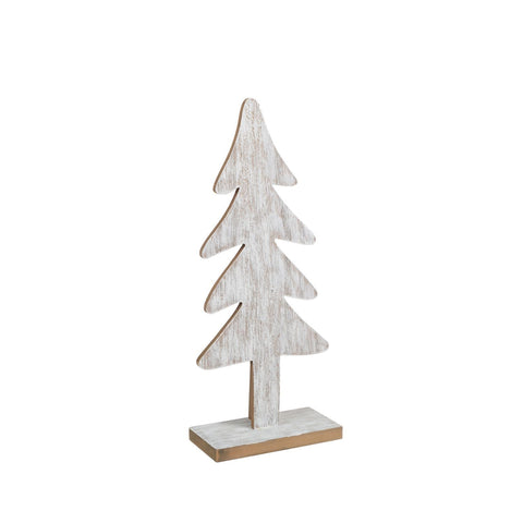 Sapin En Bois Sur Base-Lavis Blanc-15.5"