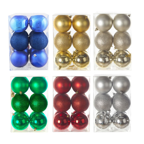 6 Asst.80Mm Shiny/Matt/Glit.Ball X12/Pk