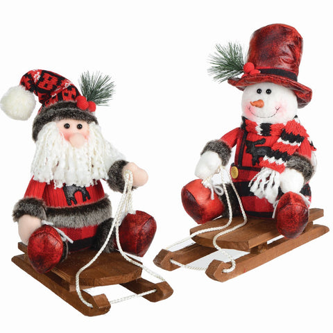 "2 Asst 13"" Fabric Figure On Wood Sleigh"