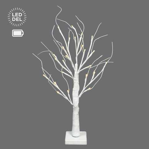 "24"" B/O White Glitter Tree, 24 Led Lts."