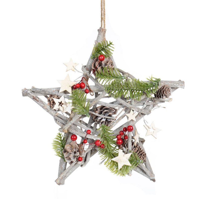 "12"" Decorated Hanging Wood Cluster Star - Magasins Hart 