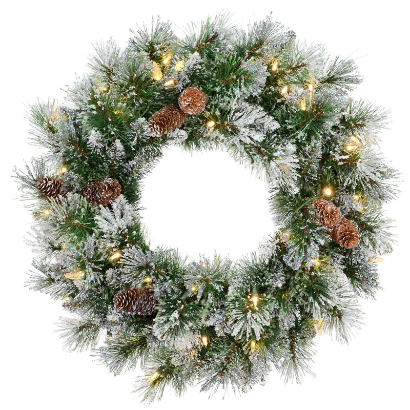 "24""Prelit Hard Needle Pine Wreath, 120T - Magasins Hart 